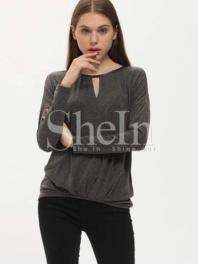 Grey Long Sleeve Casual T-shirt