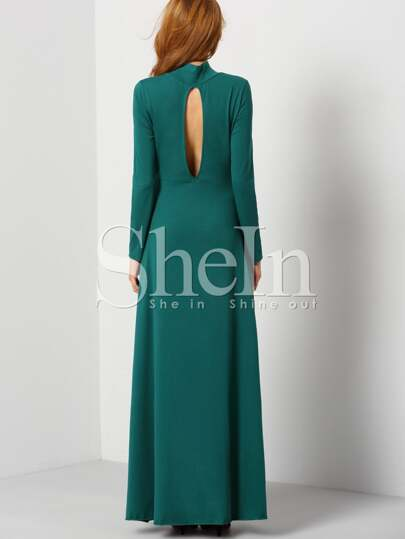 Dark Green Long Sleeve Backless Rockabilly Peasant Maxi Dress