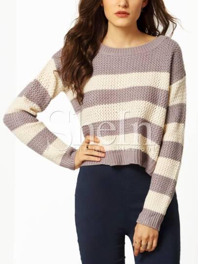 Multicolor Long Sleeve Color Block Sweater