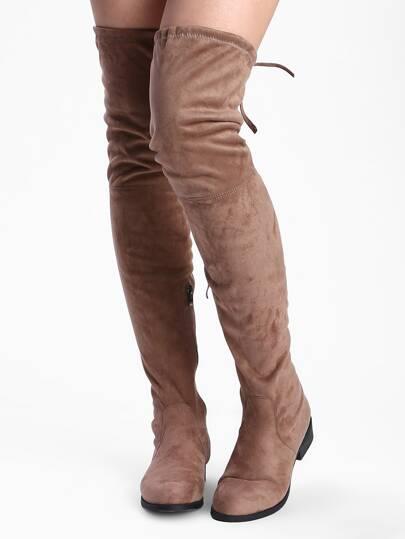 Khaki Round Toe Lace Up Boots