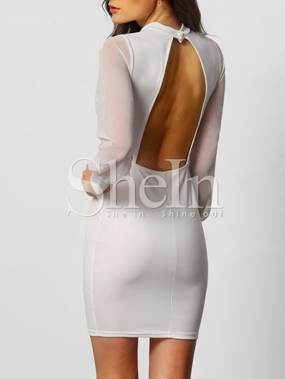 White Stand Collar Backless Bodycon Dress