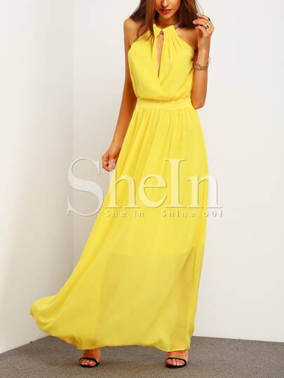 Yellow Sleeveless Halter Maxi Dress