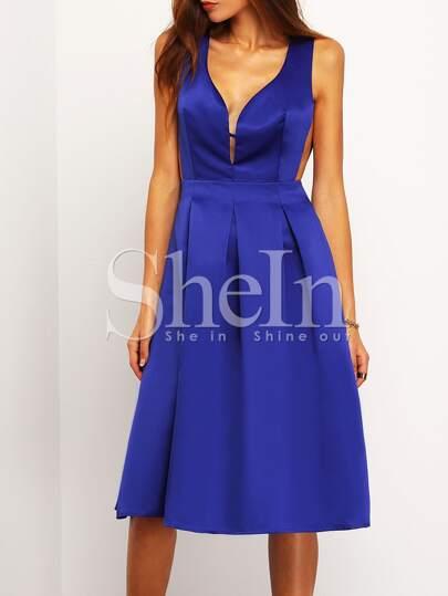 Navy Faille Shantung Sleeveless Pockets Flare Dress
