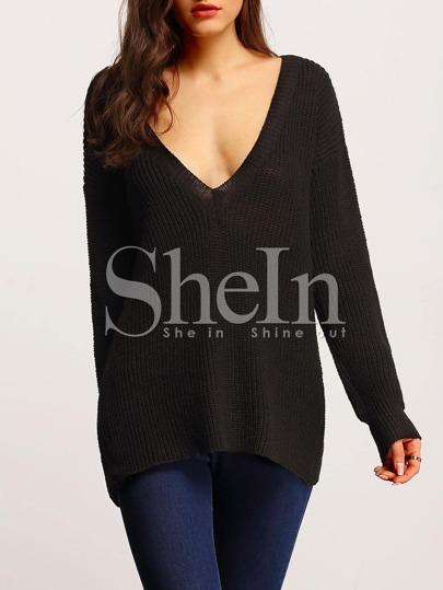 Black Long Sleeve Backless Loose Sweater