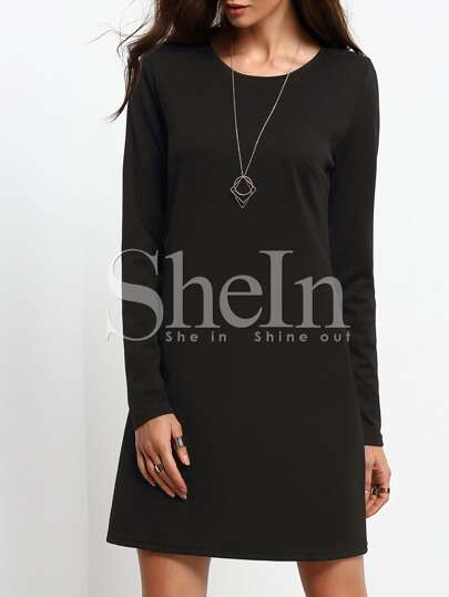 Black Long Sleeve Round Neck Dress