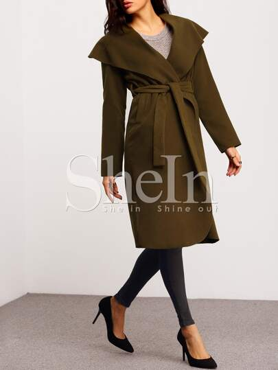 Green Long Sleeve Lapel Coat