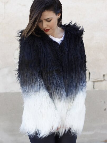 Multicolor Long Sleeve Faux Fur Coat