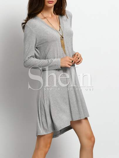 Grey V Neck Casual Dress