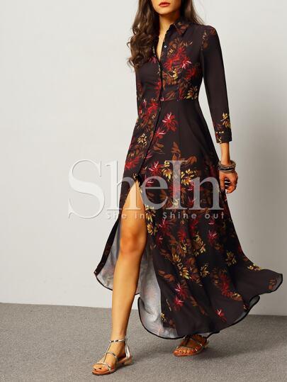 Black Long Sleeve Lapel Leaves Print Maxi Dress