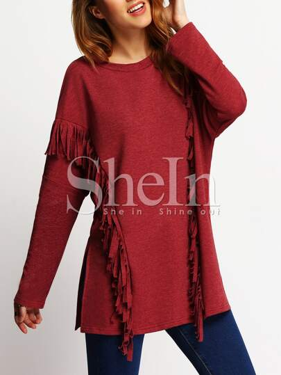 Red Round Neck Tassel T-Shirt