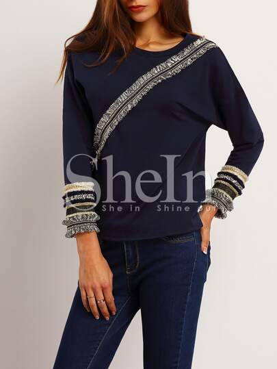 Navy Crew Neck Fringe T-Shirt