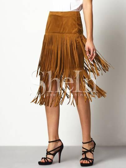 Brown High Waisted Tassel Skirt