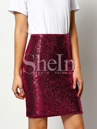 Falda cintura alta lentejuelas -borgoña