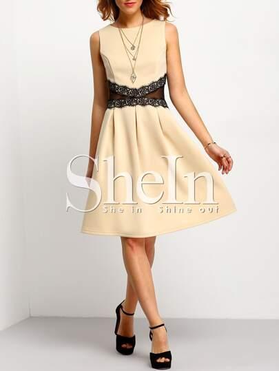 Apricot Sleeveless Contrast Mesh Yoke Dress