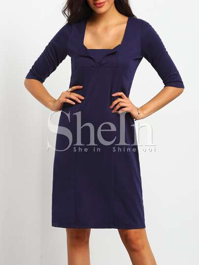 Blue Square Neck Vintage Slim Bodycon Dress