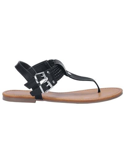 Sandalias hebilla tirante -negro