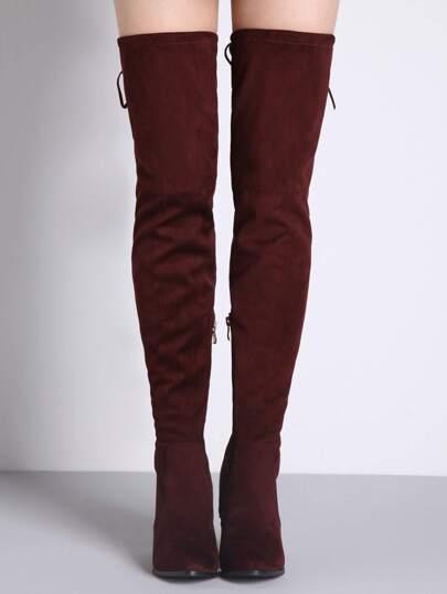 Cuissarde zippé bout rond avec lacet -rouge bordeaux