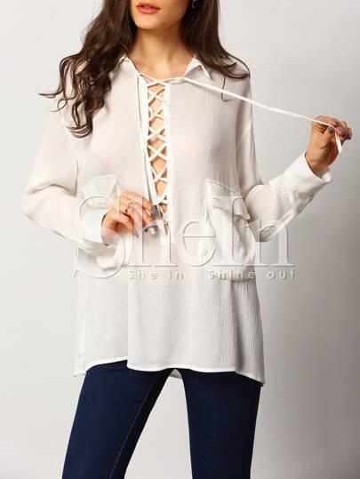 Blusa manga larga solapa -blanco