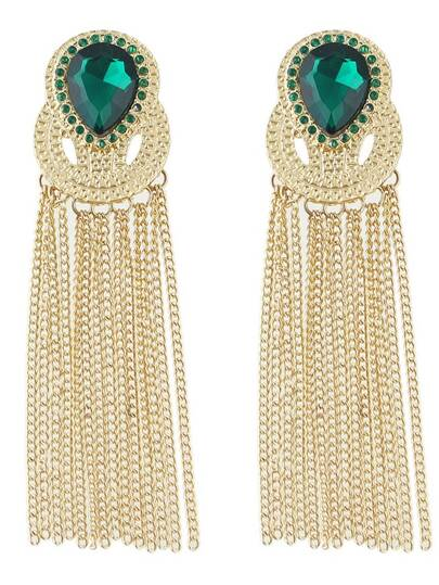 Green Gemstone Tassel Earrings