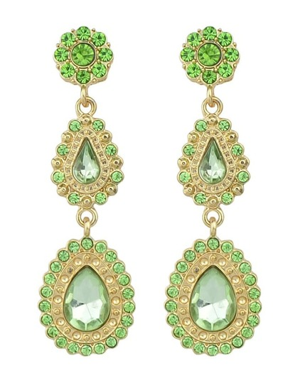 Green Drop Gemstone Flower Earrings