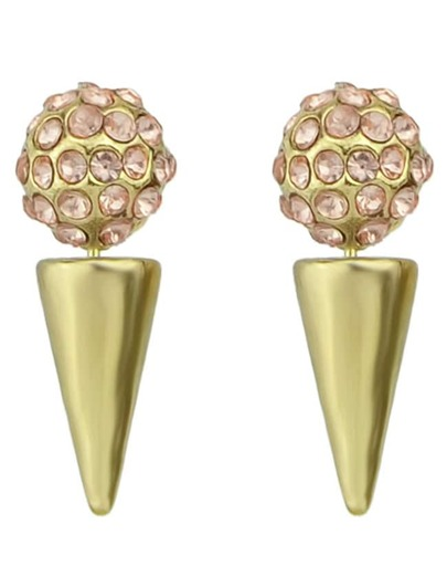 Gold Spike Crystal Spherical Earrings