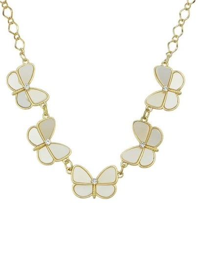 White Gemstone Butterfly Necklace