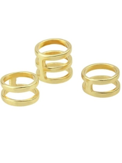 Gold Multilayer Hollow Ring