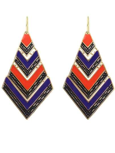 Orange Stripe Geometric Dangle Earrings