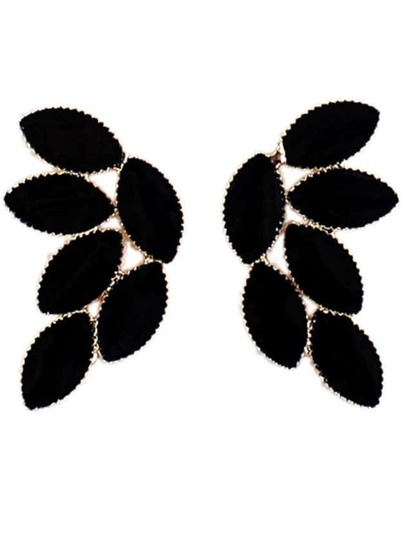 Black Glaze Gold Leaves Earrings