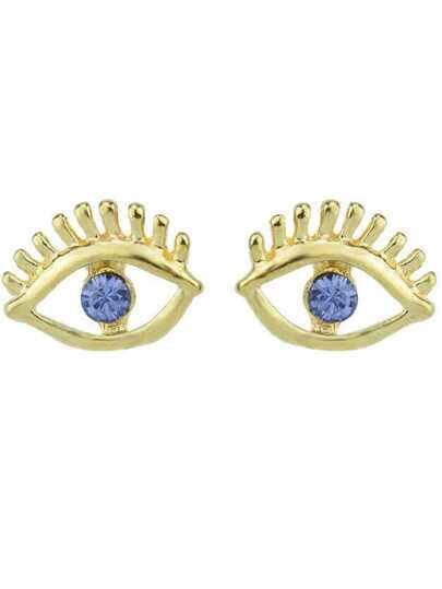 Blue Gemstone Gold Eye Earrings