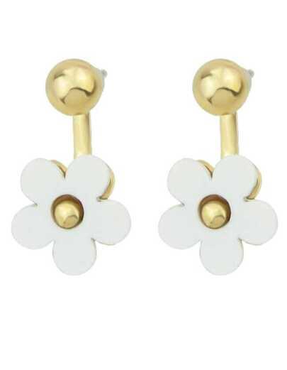 White Glaze Gold Flower Earrings
