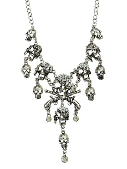 Silver Diamond Skull Chain Necklace