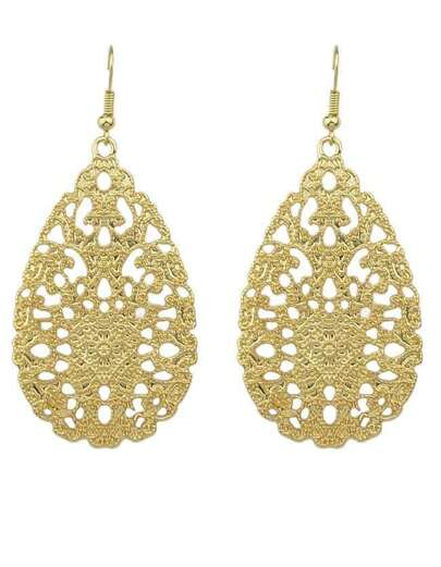 Golden Hollow Out Earring