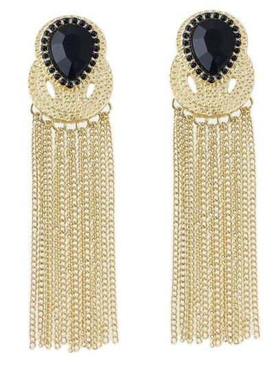 Black Gemstone Chain Tassel Earrings