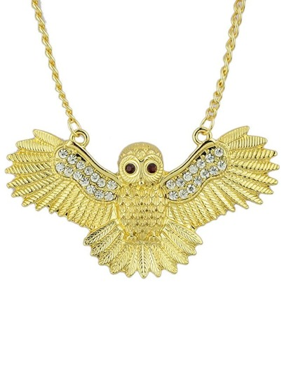 White Crystal Gold Owl Chain Necklace
