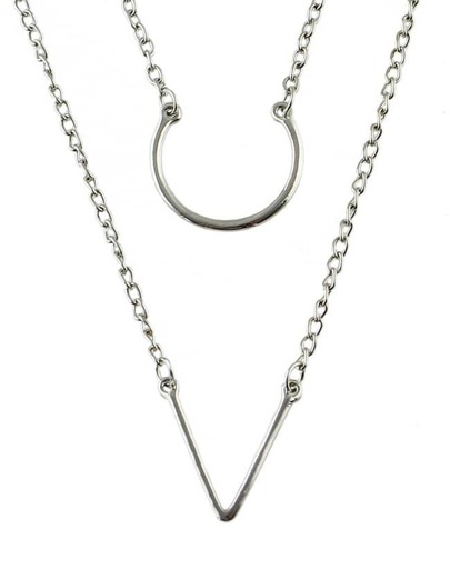 Silver Double Layels Chain Necklace
