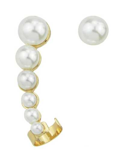 Gold With Pearl Dangle Earrings