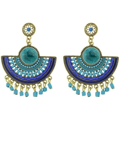 Blue Bead Tassel Earrings