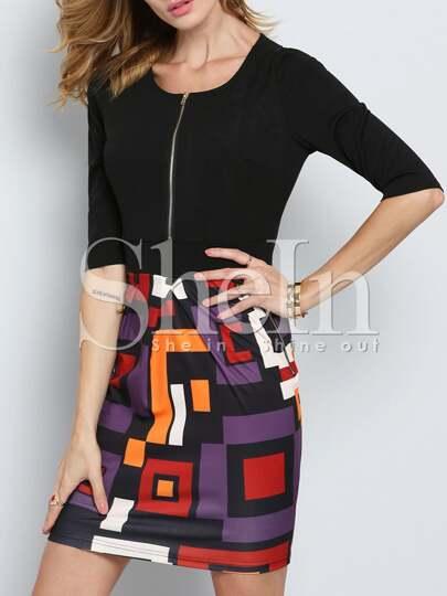 Black Half Sleeve Careers Abstract Print Dress