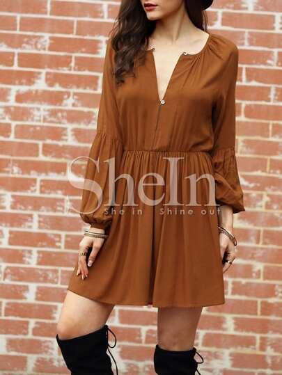 Vestido manga larga plisado -marrón