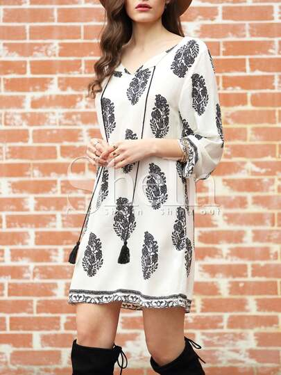 Long Sleeve Lacing Floral Print Dress