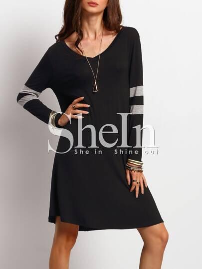 Black Color Blcok Trims T-shirt Dress