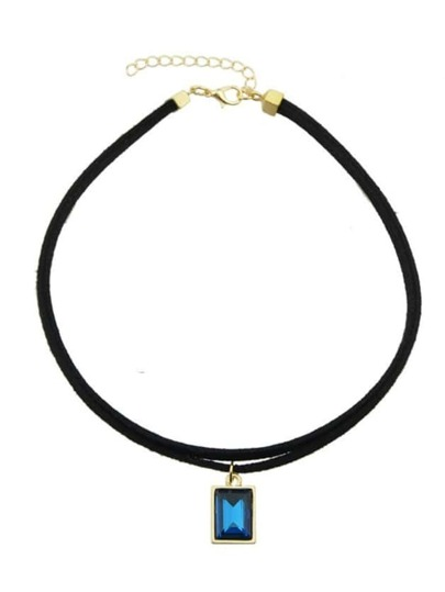 Blue Pu Rhinestone Choker Necklace