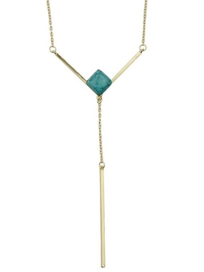 Green Plated Long Chain Necklace