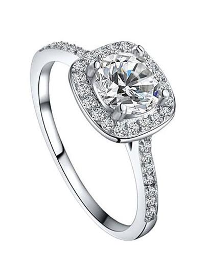 White Gold Plated Platinum Round Square Diamond Ring