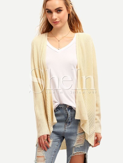 Beige Long Sleeve Shawl Collar Cardigan
