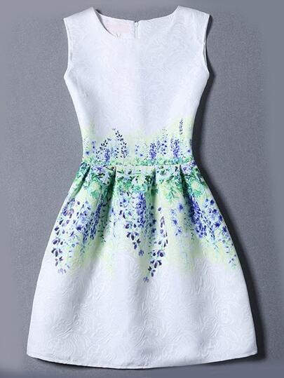 Multicolor Sleeveless Flower Print Jacquard Dress