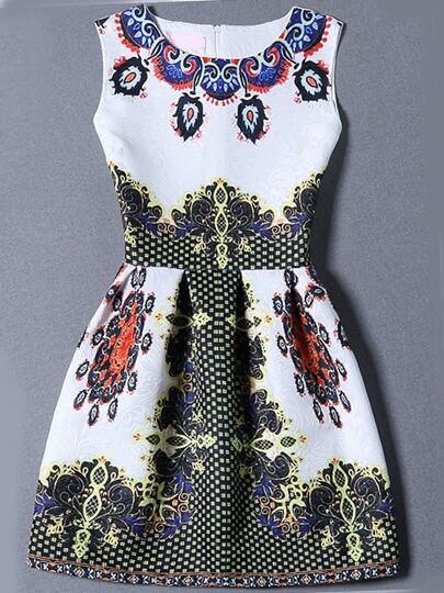 Multicolor Sleeveless Vintage Print Jacquard Dress