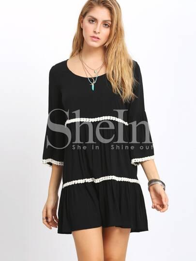 Black Scoop Neck Bell Sleeve Fringed Loose Dress