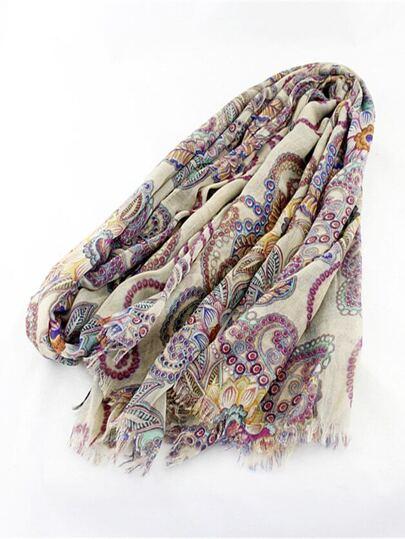 Bufanda flecos floral vintage-Amarillo
